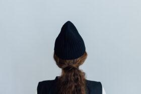 slant cutting knit cap lamb black 3