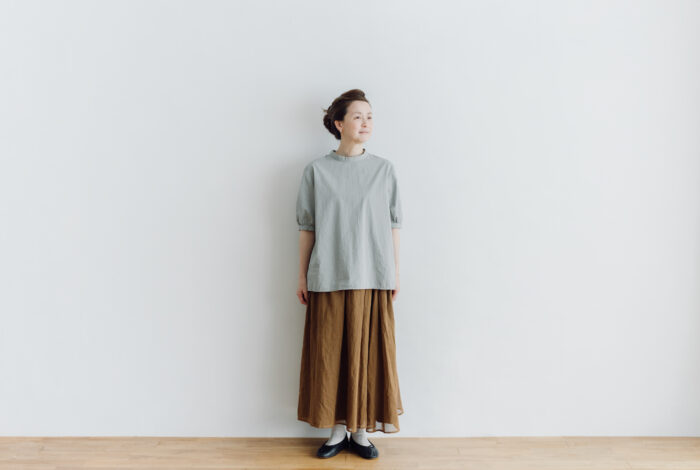 予約 PUFFED SLEEVE PULLOVER  grayish blue 1