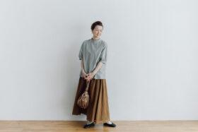 予約 ORGANDY REVERSIBLE SKIRT brown 1