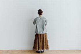 予約 ORGANDY REVERSIBLE SKIRT brown 2