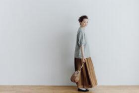 予約 ORGANDY REVERSIBLE SKIRT brown 3