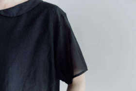 予約 COTTON SILK LAYERD TINY COLLAR BLOUSSE  black 5
