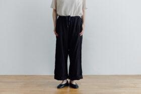 予約 LINEN ATELIER PANTS  black 1
