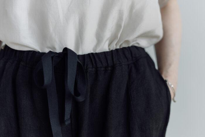 予約 LINEN ATELIER PANTS  black 3