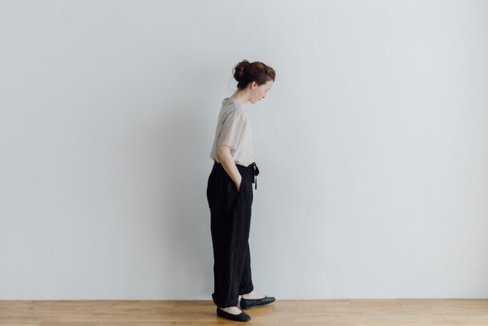 予約 LINEN ATELIER PANTS  black 5