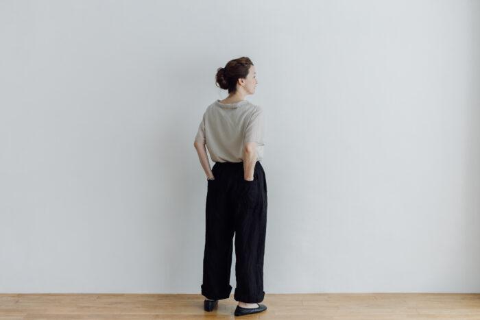 予約 LINEN ATELIER PANTS  black 6