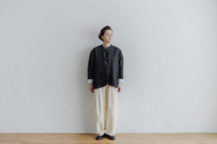 予約 WOOL HERRING BONE URBAN CHINA JAKET  black 1