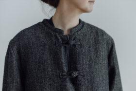 予約 WOOL HERRING BONE URBAN CHINA JAKET  black 4