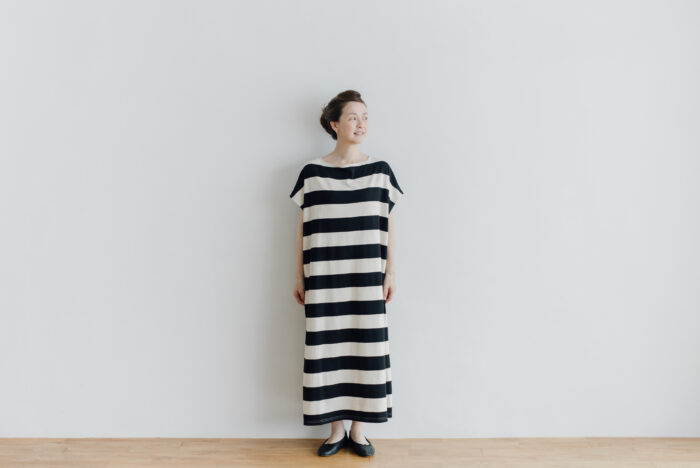 予約 STRIPE TENJIKU WIDE ONE PIECE  kinari-black 1
