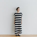 予約 STRIPE TENJIKU WIDE ONE PIECE  kinari-black