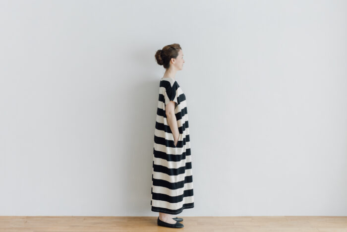 予約 STRIPE TENJIKU WIDE ONE PIECE  kinari-black 2