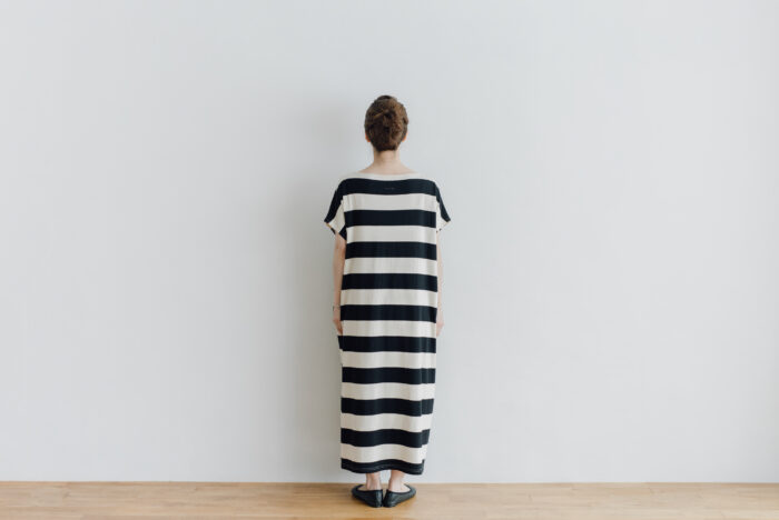 予約 STRIPE TENJIKU WIDE ONE PIECE  kinari-black 3