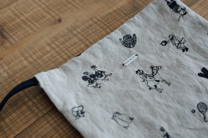 B.S EMBROIDERY LINEN DRAWS TRING BAG S 2