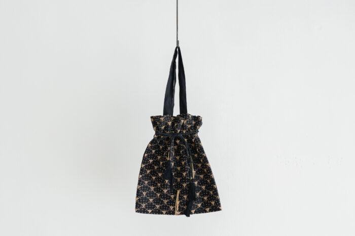 Khadi Linen Cotton Ramdan Dots Hand Print Embroidery  Drawstring Bag  Black 1
