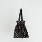 Khadi Linen Cotton Ramdan Dots Hand Print Embroidery  Drawstring Bag  Black