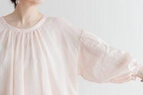 Khadi Cotton Silk Gather Blouse nude pink 4
