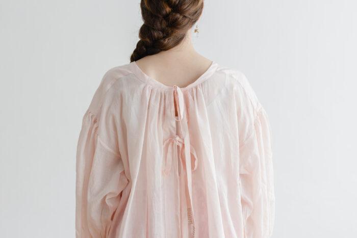 Khadi Cotton Silk Gather Blouse nude pink 5