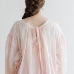 Khadi Cotton Silk Gather Blouse nude pink