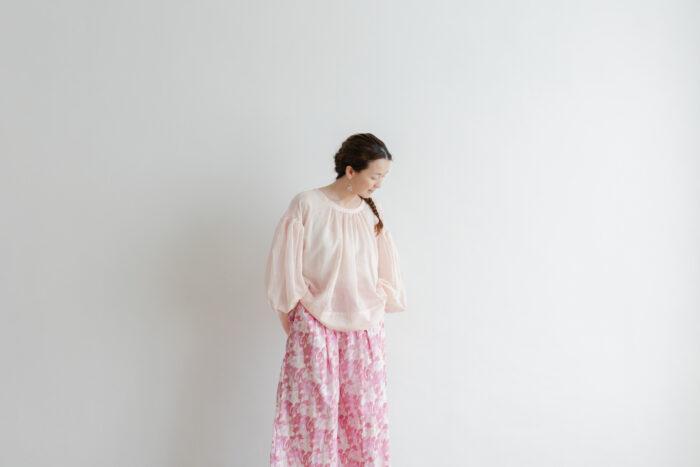 Khadi Cotton Silk Gather Blouse nude pink 6
