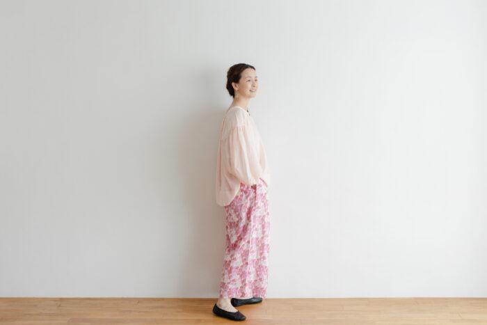 Khadi Cotton Silk Flamingo Hand Print  Tuck Pants 6