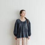 Khadi Cotton Silk Gather Blouse Darkgray