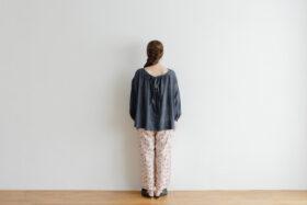 Khadi Cotton Silk Gather Blouse Darkgray 3