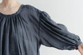 Khadi Cotton Silk Gather Blouse Darkgray 4