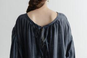 Khadi Cotton Silk Gather Blouse Darkgray 5