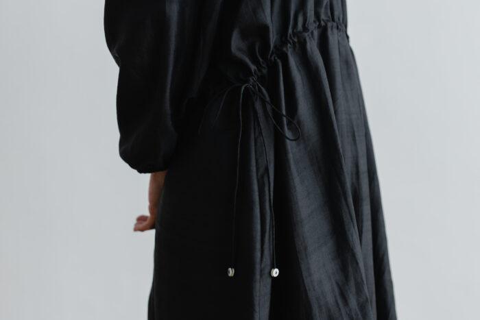 Khadi Silk Back Button Dress   Black 5