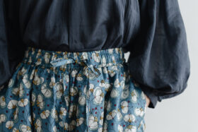 Khadi Silk All Embroidery Tuck Pants  navy 2