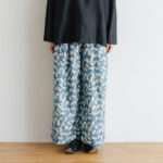 Khadi Silk All Embroidery Tuck Pants  navy