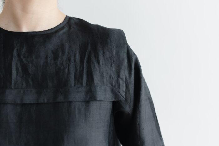 Khadi Silk Back Button Sailor Blouse   Black 4