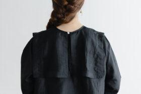 Khadi Silk Back Button Sailor Blouse   Black 5