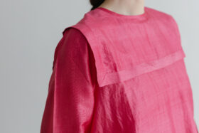 Khadi Silk Back Button Sailor Blouse   C.Coral 5
