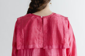 Khadi Silk Back Button Sailor Blouse   C.Coral 4