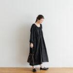 Khadi Silk Back Button Dress   Black