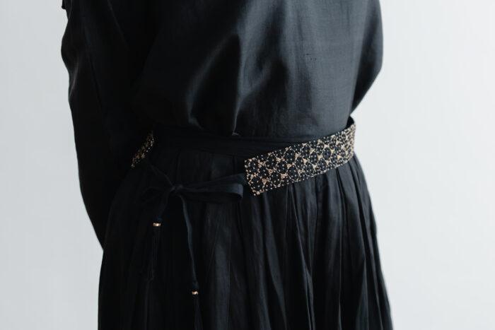 Khadi Linen Cotton Ramdan Dots Hand Print Embroidery Ribbon Belt   Black 3