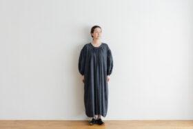 Khadi Cotton Silk Gather Dress Darkgray 1