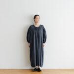 Khadi Cotton Silk Gather Dress Darkgray