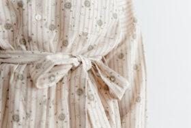 Stripe Khadi Cotton Flower Hand Print V Neck Blouse 5