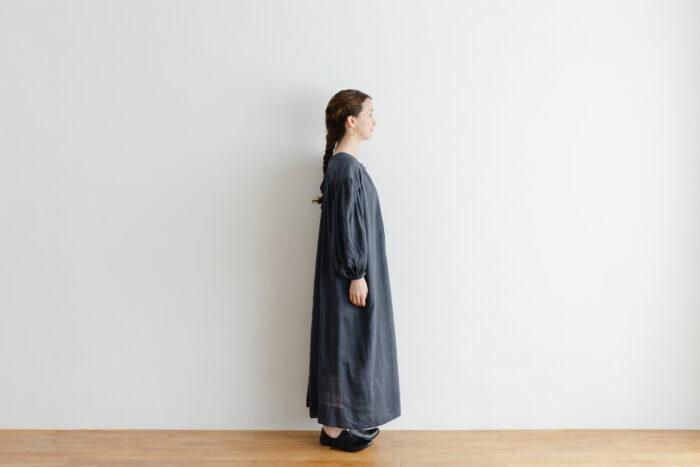 Khadi Cotton Silk Gather Dress Darkgray 2