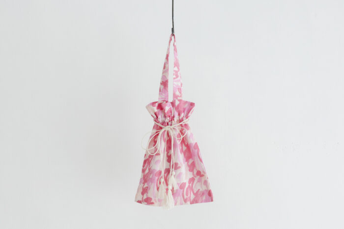 Khadi Cotton Silk Flamingo Hand Print  Drawstring Bag  Flamingo 1
