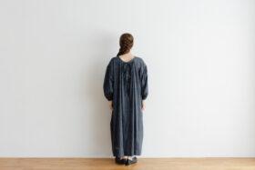 Khadi Cotton Silk Gather Dress Darkgray 3