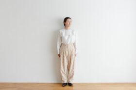 Stripe Khadi Cotton Flower Hand Print Tapered Tuck Pants 1