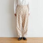 Stripe Khadi Cotton Flower Hand Print Tapered Tuck Pants