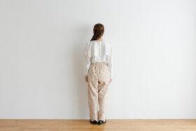 Stripe Khadi Cotton Flower Hand Print Tapered Tuck Pants 3