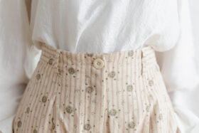 Stripe Khadi Cotton Flower Hand Print Tapered Tuck Pants 4