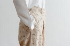 Stripe Khadi Cotton Flower Hand Print Tapered Tuck Pants 5