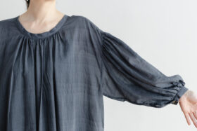 Khadi Cotton Silk Gather Dress Darkgray 4