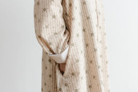 Stripe Khadi Cotton Flower Hand Print Embroidery Wide Coat 4